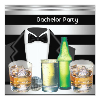 Bachelor Party Mens Drinks Tuxedo Black Silver 5.25x5.25 Square Paper Invitation Card