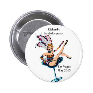 Bachelor Party namebadge Vegas Casino Theme Pinback Button