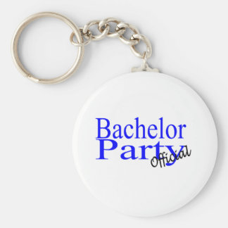 Bachelor Party Official Blue Basic Round Button Keychain
