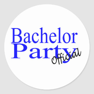 Bachelor Party Official Blue Classic Round Sticker