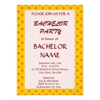 Bachelor Party - Orange Polka Dots,Pink Background Card