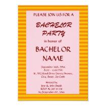 Bachelor Party - Orange Stripes, Pink Background Card