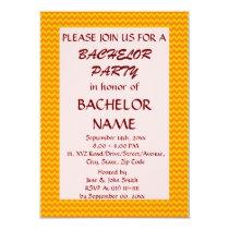 Bachelor Party - Orange Zigzag, Pink Background Card