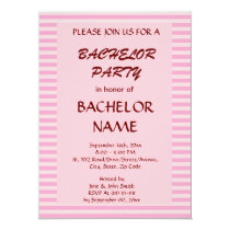 Bachelor Party - Pink Stripes, Pink Background Card