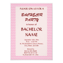 Bachelor Party - Pink Zigzag, Pink Background Card