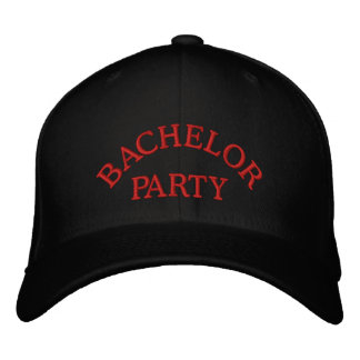 Bachelor party red embroidered baseball hat