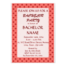 Bachelor Party - Red Polka Dots, Pink Background Card