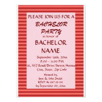 Bachelor Party - Red Stripes, Pink Background Card