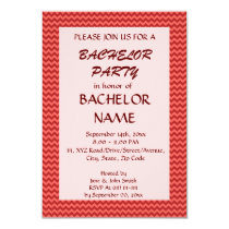 Bachelor Party - Red Zigzag, Pink Background Card