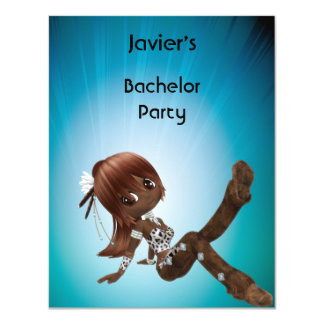 Bachelor Party S...exy Brown Hair Girl Blue Card
