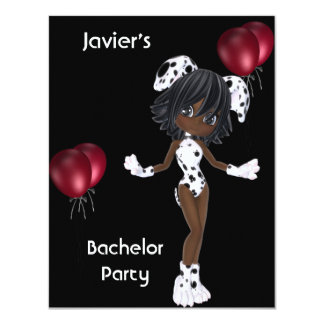 Bachelor Party S.exy Girl Black White Red Balloons 4.25x5.5 Paper Invitation Card