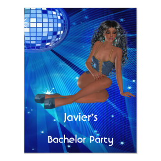 Bachelor Party S..exy Girl Blue Disco Club 4.25x5.5 Paper Invitation Card