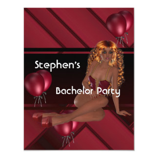 Bachelor Party S..exy Girl Red Balloons 4.25x5.5 Paper Invitation Card