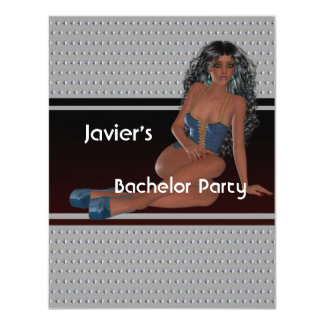 Bachelor Party S...exy Girl Silver Studs 4.25x5.5 Paper Invitation Card