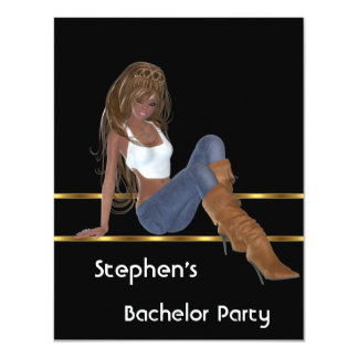 Bachelor Party S...exy Jeans Girl Black Gold 4.25x5.5 Paper Invitation Card
