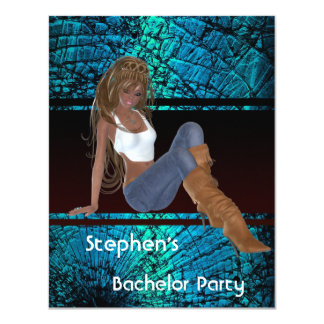 Bachelor Party S..exy Jeans Girl Teal Abstract 4.25x5.5 Paper Invitation Card