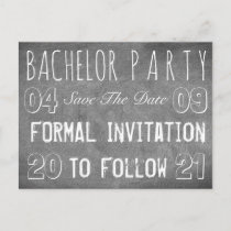 Bachelor Party Save The Date Chalkboard Style Announcement Postcard