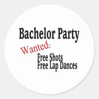 Bachelor Party (Shots and Lap Dances) Classic Round Sticker