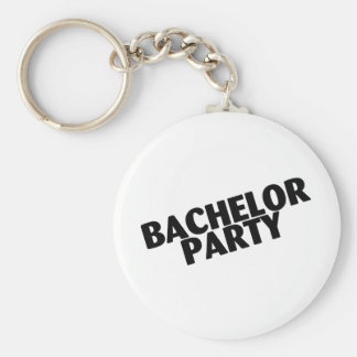 Bachelor Party (Slanted Black) Basic Round Button Keychain