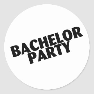 Bachelor Party (Slanted Black) Classic Round Sticker