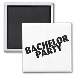 Bachelor Party (Slanted Black) 2 Inch Square Magnet