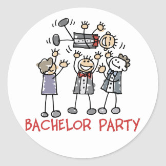 Bachelor Party Round Stickers