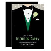 Bachelor party tuxedo green rose invitation