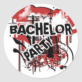 Bachelor party urban grunge boys night out classic round sticker