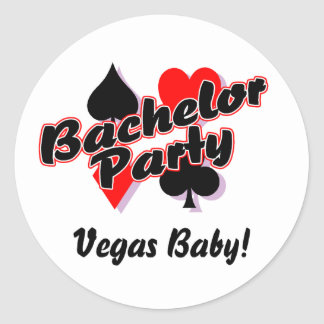 Bachelor Party Vegas Baby Classic Round Sticker