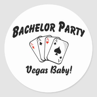 Bachelor Party Vegas Classic Round Sticker