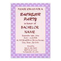 Bachelor Party-Violet Polka Dots, Pink Background Card