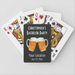 "Bachelor Party Wedding Favor Beer Cheers Playing Cards<br><div class=""desc"">A fun gift that you can give the guys as a favor from your bachelor party outing.  Cheers to the groom-to-be!  Personalize with the groom's name and the bachelor party details.  The colors and font of the text can be changed to fit your preference.</div>"