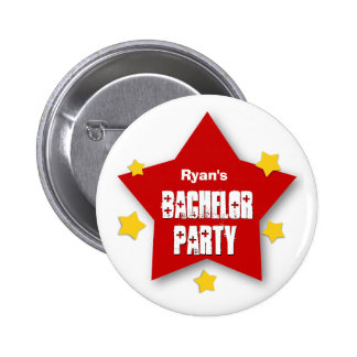 BACHELOR PARTY with STARS Custom Grunge Text V07 2 Inch Round Button