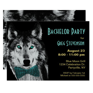 Bachelor Party Wolf Card