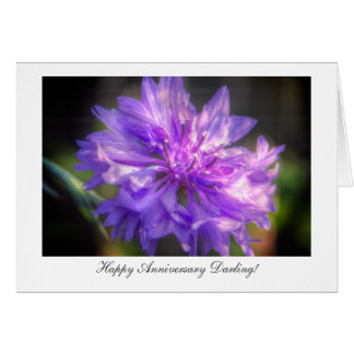 Bachelor s Button Cornflower - Happy Anniversary Greeting Card