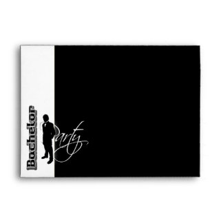 Bachelor stag party black white trendy formal envelope