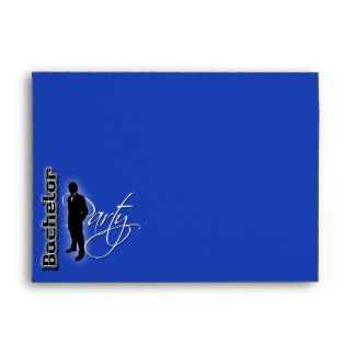 Bachelor stag party blue black trendy formal envelopes
