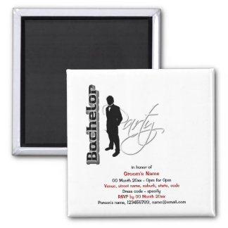 Bachelor stag party formal elegant 2 inch square magnet