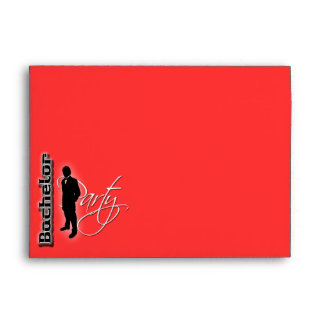 Bachelor stag party red black trendy formal envelope
