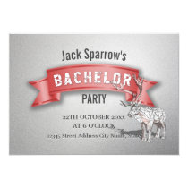 Bachelor Stag Party Red Ribbon & Silver Invitation