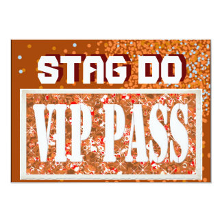 Bachelor Stag Party rust red VIP invite