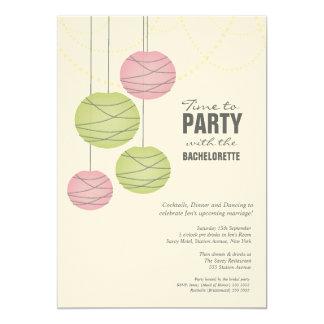 Bachelorette 5x7 Party Pink Green Paper Lanterns 5x7 Paper Invitation Card