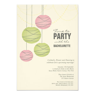 Bachelorette 5x7 Party Pink Green Paper Lanterns 5x7 Paper Invitation Card