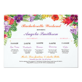 Bachelorette Aloha Bridal Shower Itinerary Plan Card