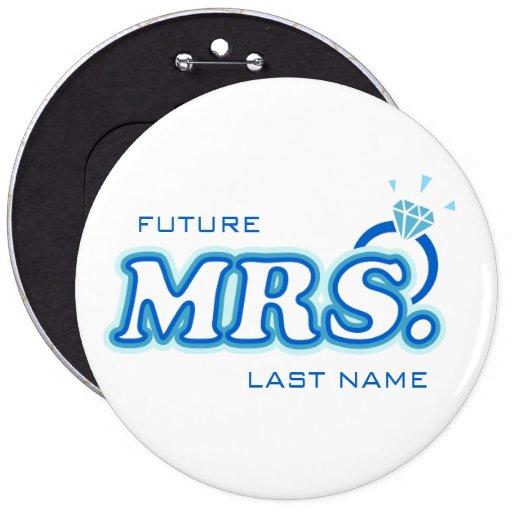 """Bachelorette azul """"señora futura"""" Pin del personal"""