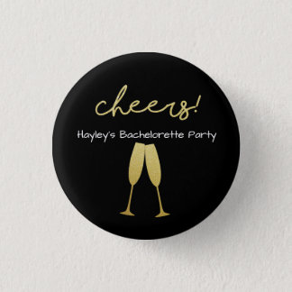 Bachelorette Badge with with with Gold Glitter Button
