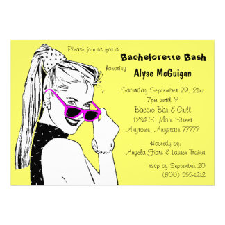 Bachelorette Bash Yellow Invitation