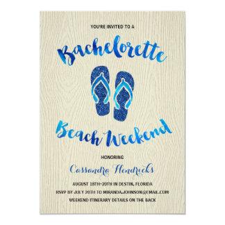 Bachelorette Beach Weekend with Blue Faux Glitter Card