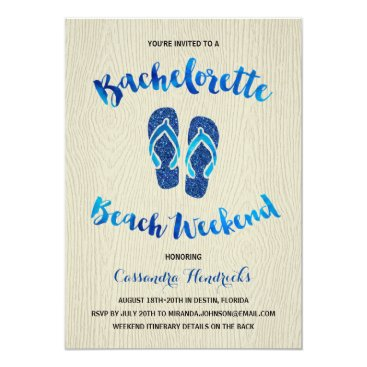 Beach Themed Bachelorette Beach Weekend with Blue Faux Glitter Card