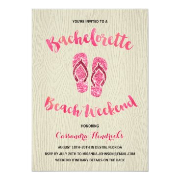 Beach Themed Bachelorette Beach Weekend with Pink Faux Glitter Card